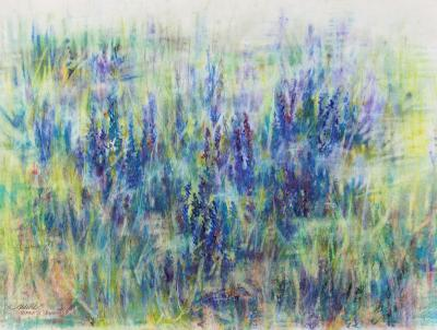 Viper's Bugloss, 18 x 25 inches Dry Pastels on paper