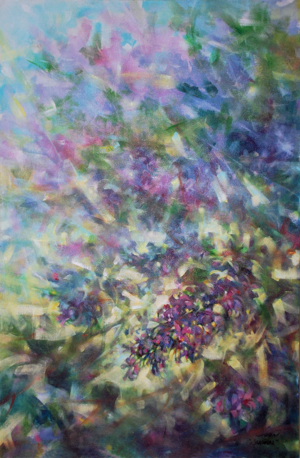 Lilacs, 36H x 24W x 2D inches  acrylics on canvas, wrapped sides painted, narrow frame