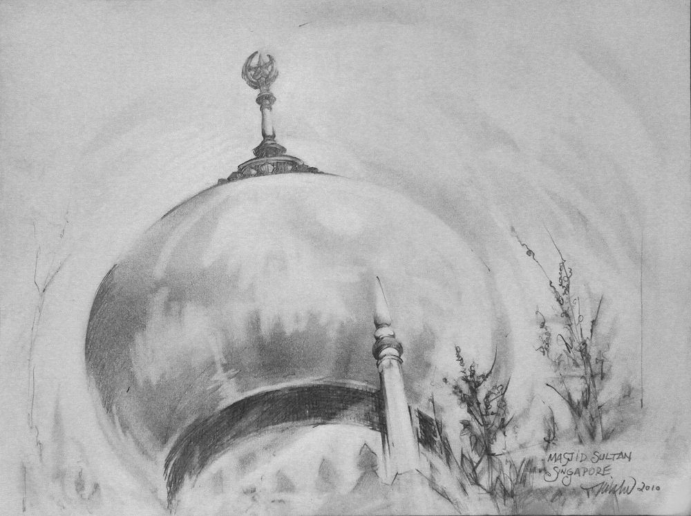 Masjid Sultan Mosque, Singapore 9H x 12W inches graphite on paper