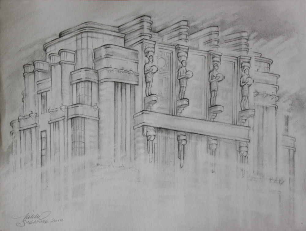 Parkview Square, Singapore, 11H x 14W inches graphite on paper