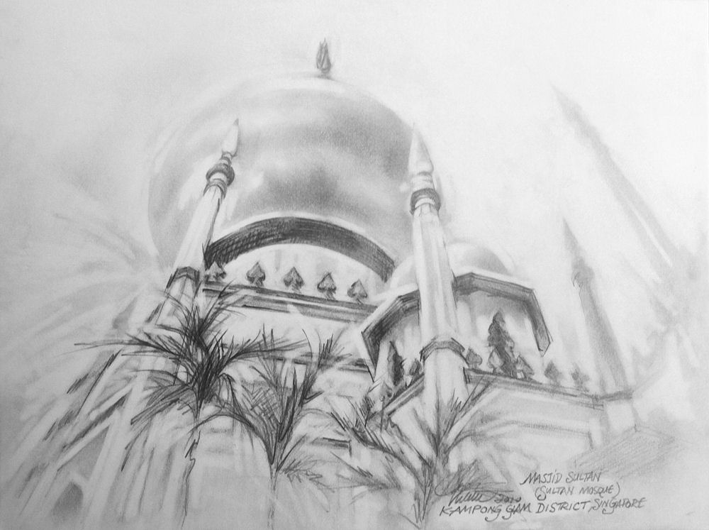 Masjid Sultan,  (Malay for Sultan Mosque) Kampong Glam district, Singapore,  9H x 12W inches graphite on paper with white mat  and 15H x 18W inch frame