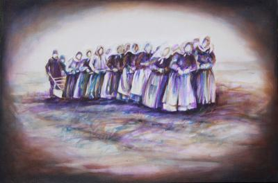 Breaking The Land: Doukhobor Women, 24 x 36 x 2 inches acrylics on canvas