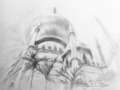 Masjid Sultan, Singapore 9 x 12 inches graphite on paper