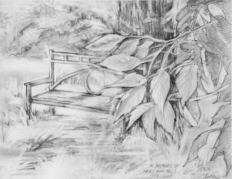 Mary Anns Bench, dedication to Mary Ann Pels, 11 x 14 inches graphite on paper