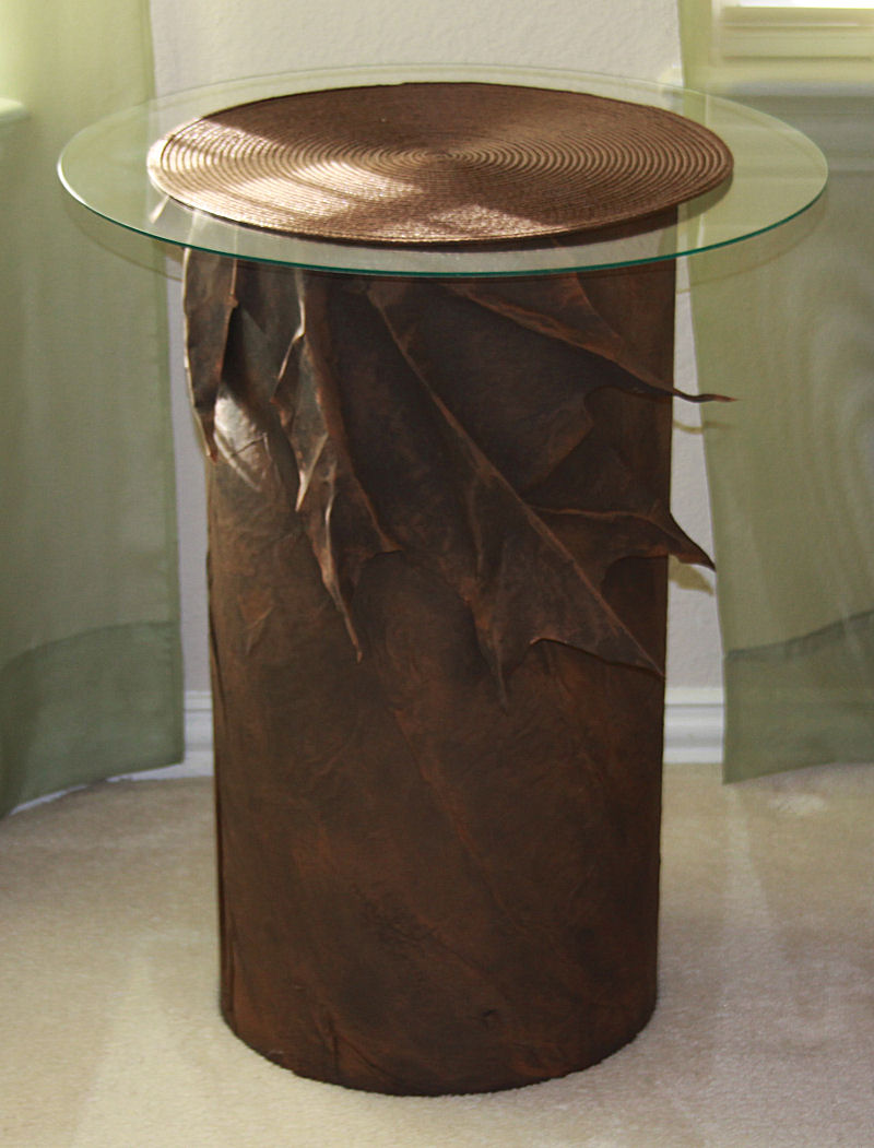 End Table 01, 24H x 12D cardboard tube and paper mache, 20 inch glass top