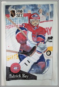 Patrick Roy hockey card, fabric paint on 100% cotton twin size comfortor