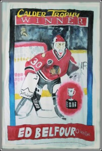 Ed Belfour hockey card, fabric paint on 100% cotton twin size comfortor