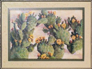 Prickly Pear Cactus, acrylics pins around 48 x 36 x 2 in. canvas, 3 in. box frame, Nov. 2000 - sold