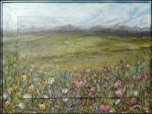 Alpine Meadows, Acrylics using palette knife on foreground flowers, 48 x 36 x 2 in. canvas, 3 in. box frame, sold