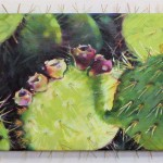 Prickly Pear Cactus, 2005 acrylics and pins on 8 x 10 in. canvas, sold but will take commissions for other versions