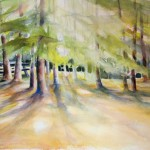 The Campsite, watercolors, total size 24 x 30 inches professionally framed