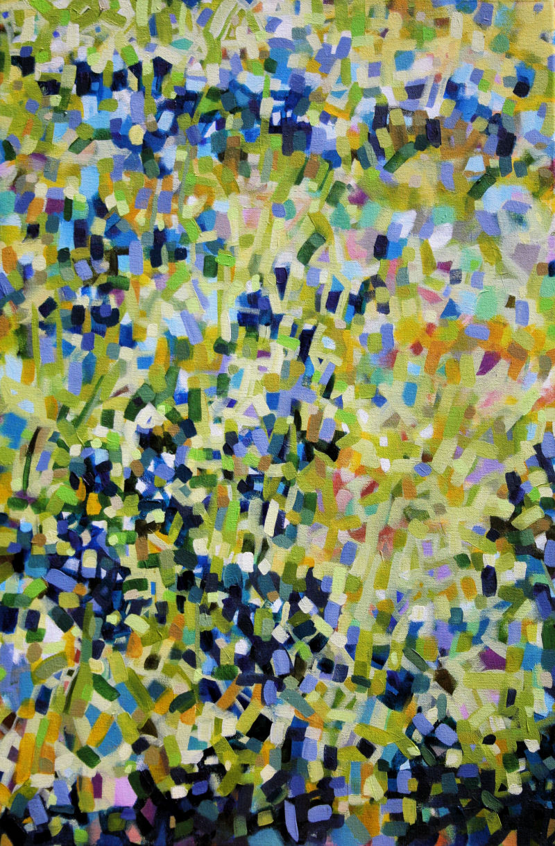 Bluebonnets Abstract, 36H  x 24 W inches acrylics on canvas, narrow frame