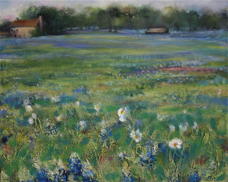 Bluebonnets, Marble Falls, Texas 85 x 45 x 3 inches acrylics on canvas