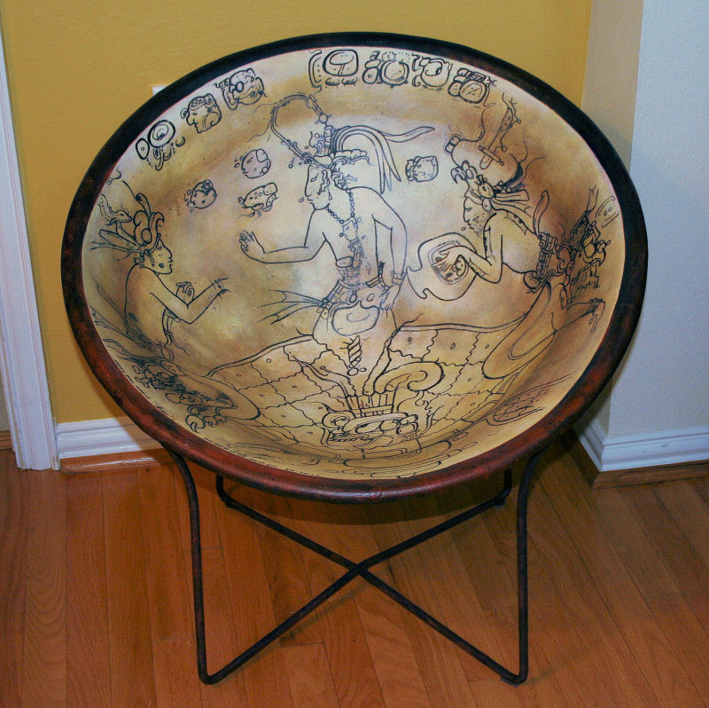 Mayan Bowl Replica Chair, 29 x 29 x 29 inches, Vintage chair, canvas strips, drywall compound, acrylics, varnished and waxed; durable, functional