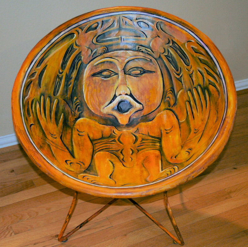 Salish NW Pacific Wooden Whorl Replica Chair, 29 x 29 x 29 inches, Vintage chair, canvas strips, plaster, acrylics, varnished and waxed; durable, functional