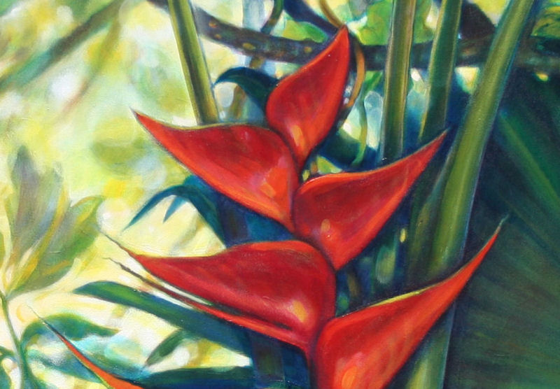 Heliconia, or Lobster Claw detail