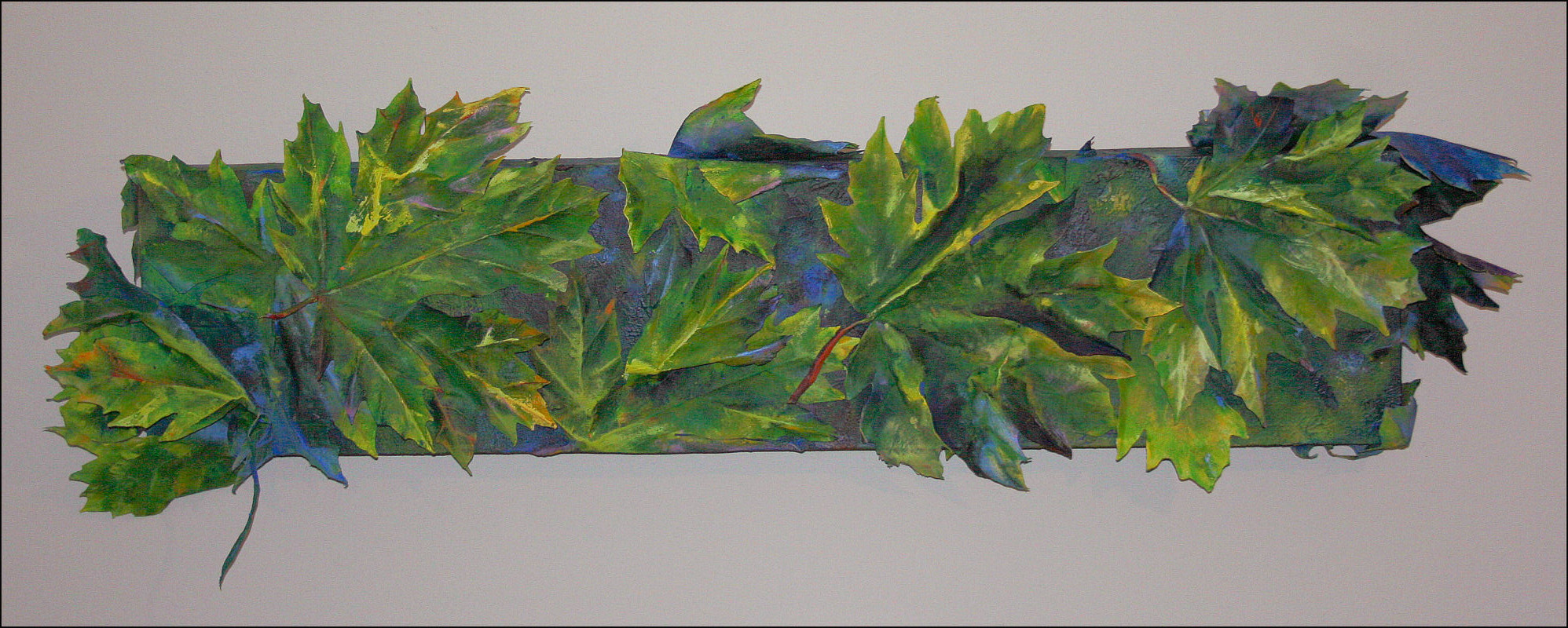What Bigleaf Maples Do At Night - day look - 57H x 20W x 4D inches acrylics on canvas, wrapped sides painted, LED light system, 12V rechargeable battery