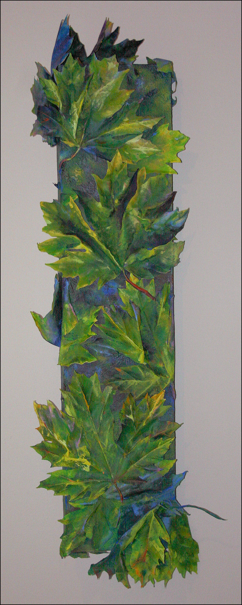 What Large Leaf Maples Do At Night -day look - 20 x 57 x 4 inches - muslin, glue, acrylics on canvas, LED light system, 12V rechargeable battery