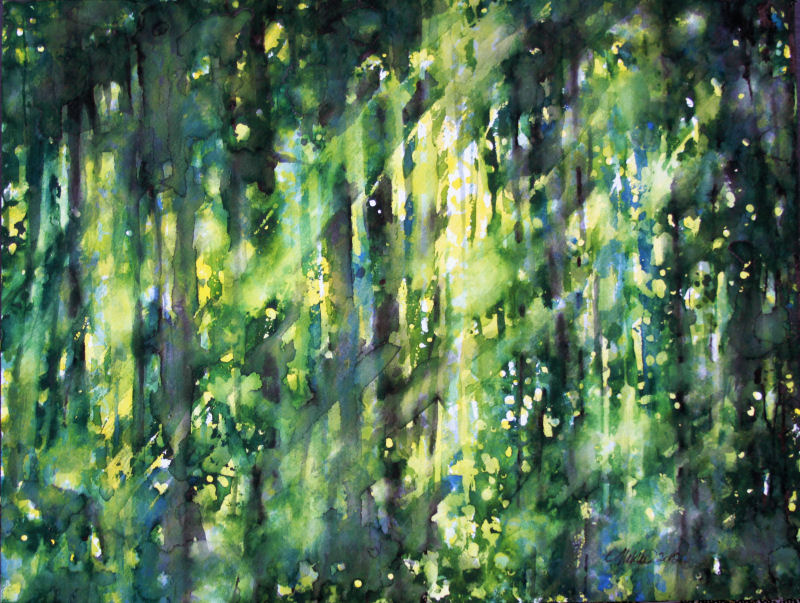 Deciduous Forest, 12 x 16 inches watercolors on paper
