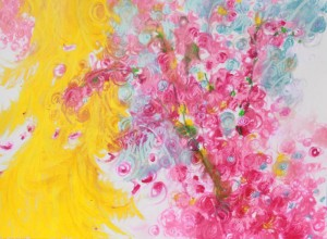 Plum Blossom Mania, Original size 18H x 24 inches Oil Pastels on 80lb
