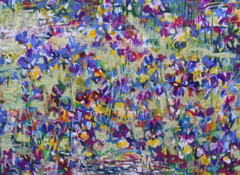 Spring Garden Mix, 18H x 24 inches oil pastels on 80 lb acid free premium
