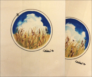Bullrushes on unbleached cotton, 1990