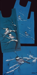 Chickadees on turquoise 100% brushed cotton, all sizes sold well