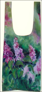 Lilacs bag with longer handles, painted all over front, sides and back on white 100% cotton