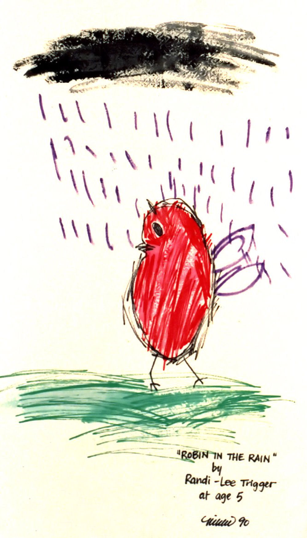 Robin in the Rain by Randi Lee, age 5 - a popular Earthbag design