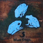 3 blue frogs
