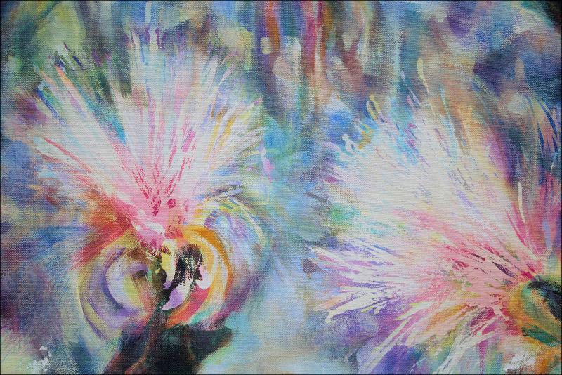 Shavingbrush Tree detail, acrylics over masking medium on canvas