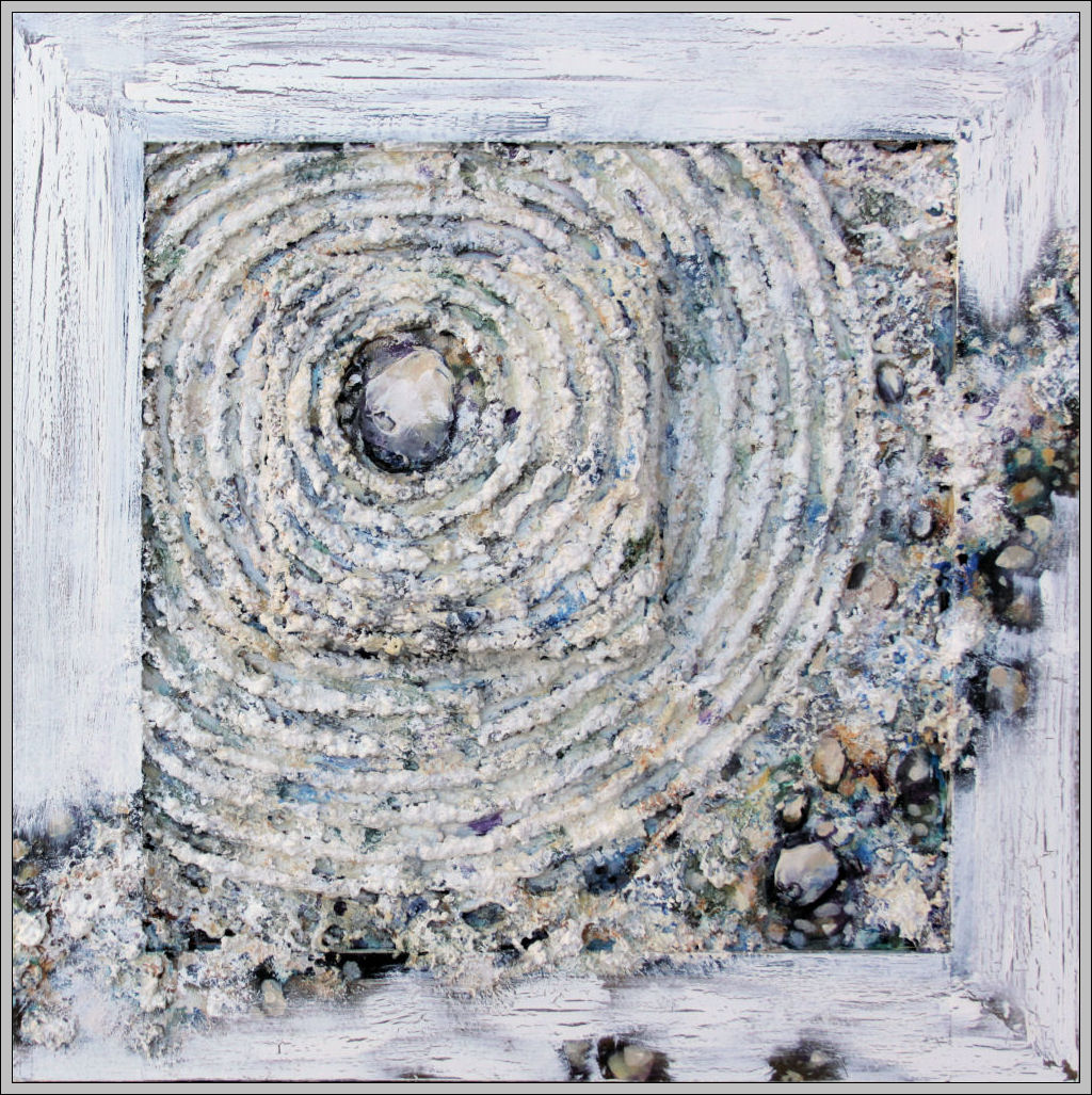 Zen Garden 04, 12H x 12W x 1D inches mixed media on Masonite, attached small 2 x 2 x 1 canvas and wood frame with crackle finish
