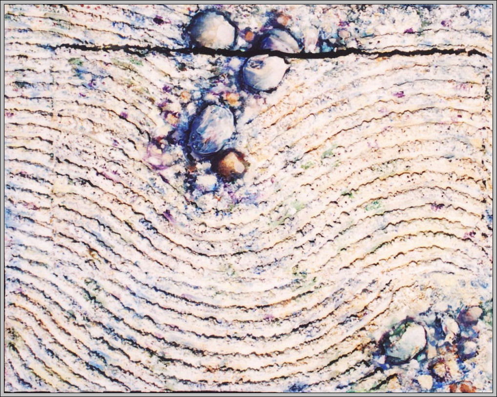 Zen Garden 03, 16H x 20W x 1D inch canvas, mixed media continued onto smaller incorporated canvas, frame unnecessary.