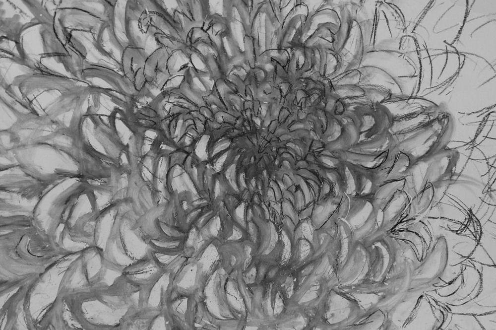 Chrysanthemums Chair, initial sketch on plaster, detail