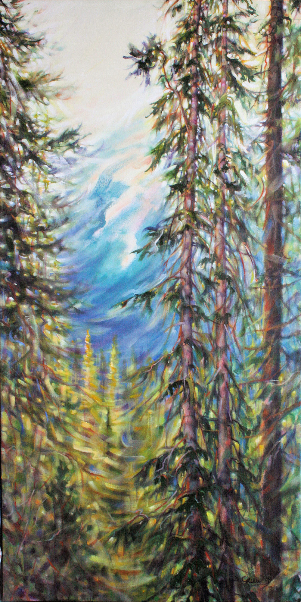 Rocky Mountain Vista, 48H x 24W x 2W inches acrylics on canvas, narrow frame. Special order