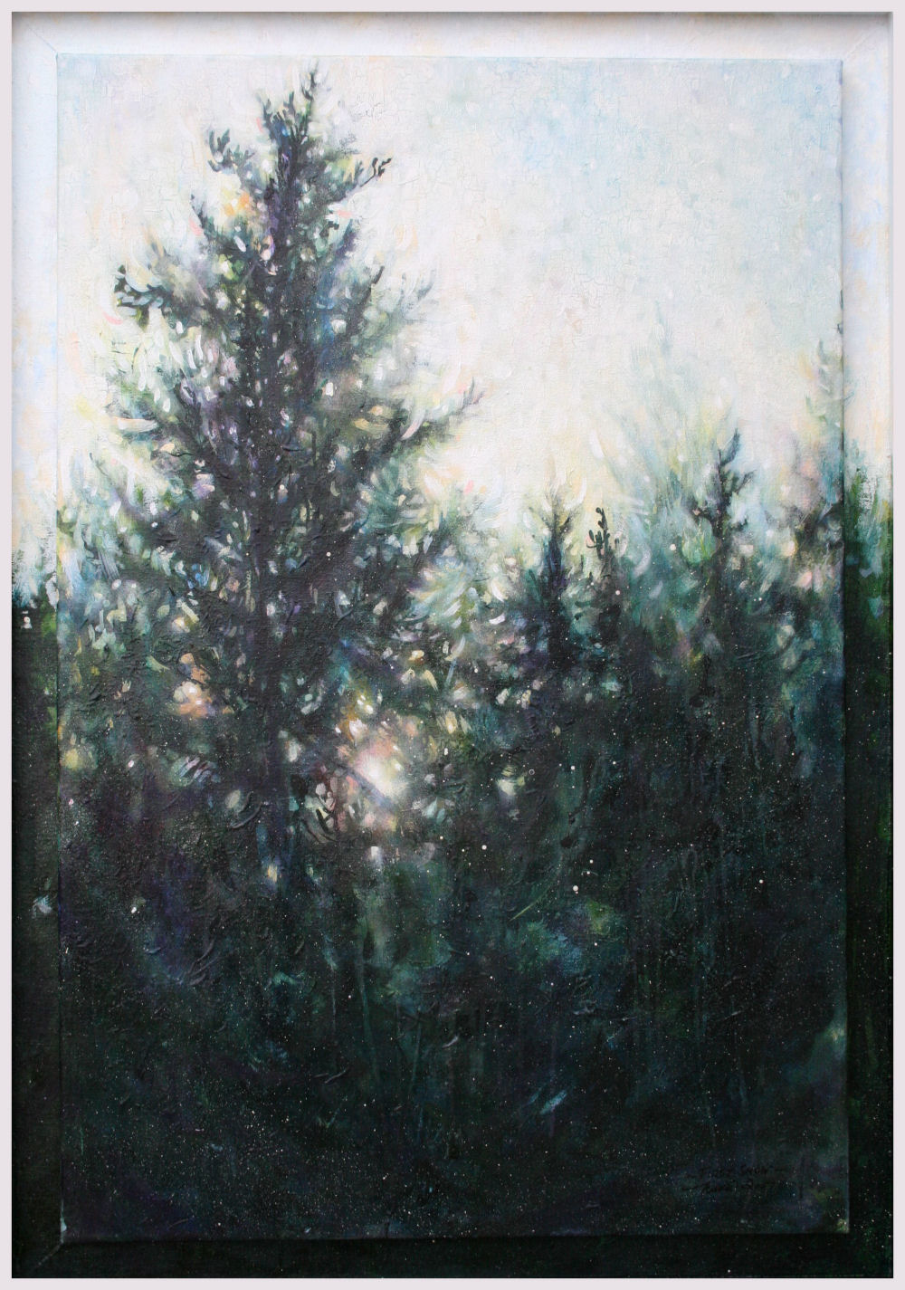 First Snow, 40H x 27W x 1D inches acrylics, crackle glaze on canvas, box-frame.
