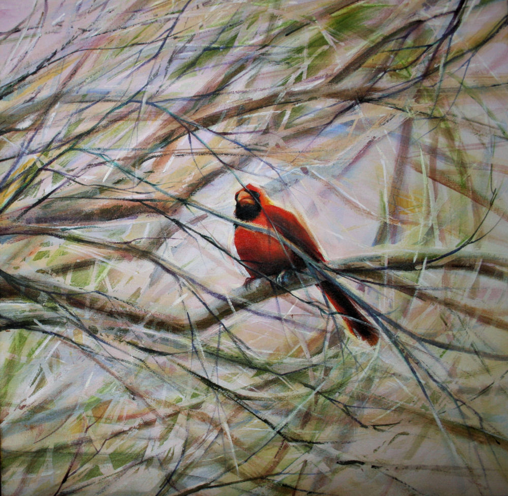 Cardinal, 24H x 24W x 1D inches acrylics on canvas