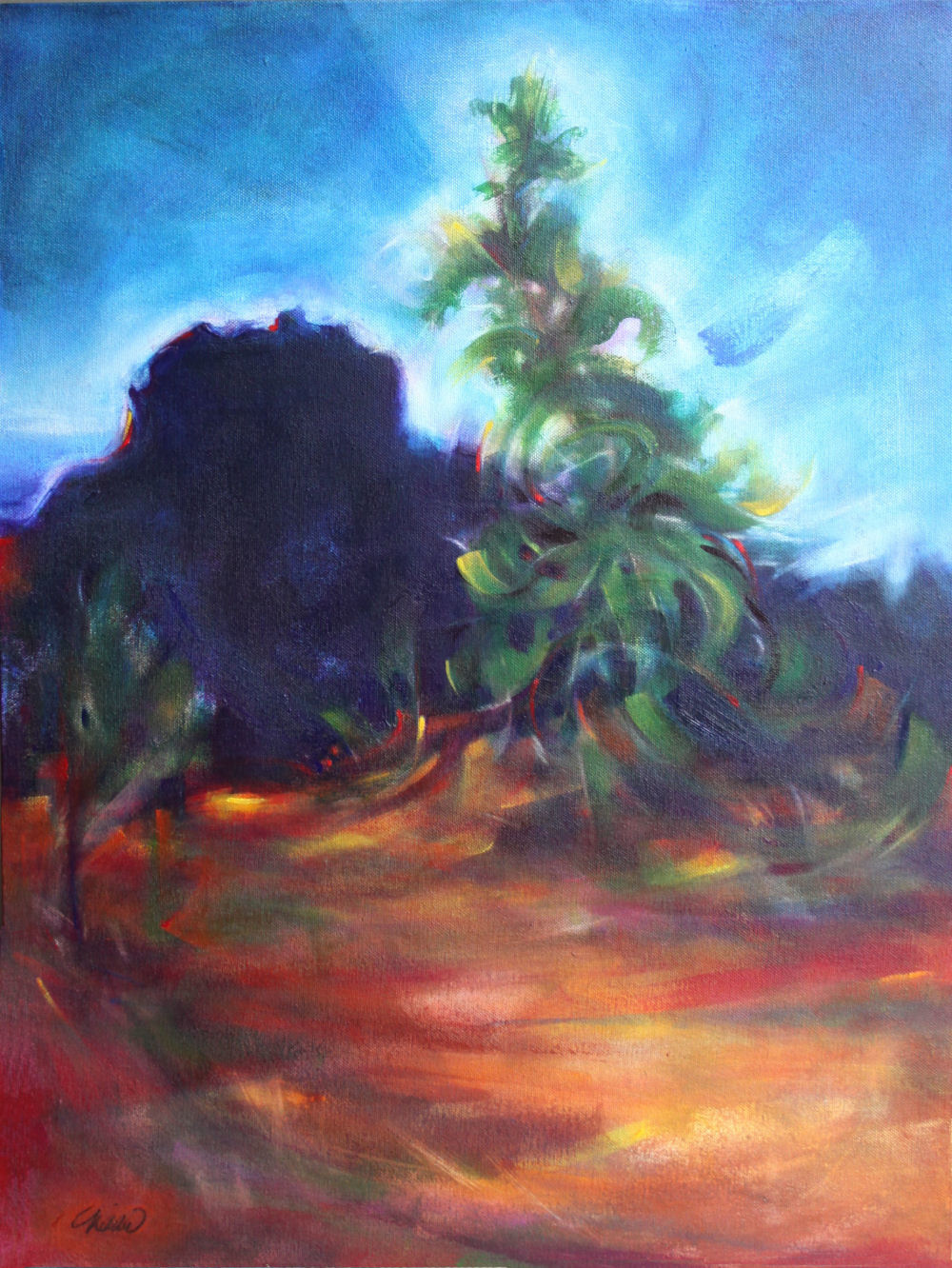 Dawn At Bell Rock, Sedona Arizona, 18H x 12W x 3D inches acrylics on canvas, wrapped sides painted, trim frame