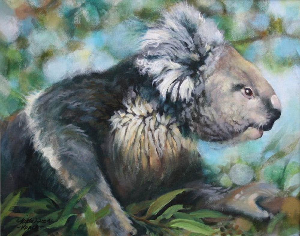 Koala and Eucalyptus, 16H x 20W inches acrylics on canvas, framed