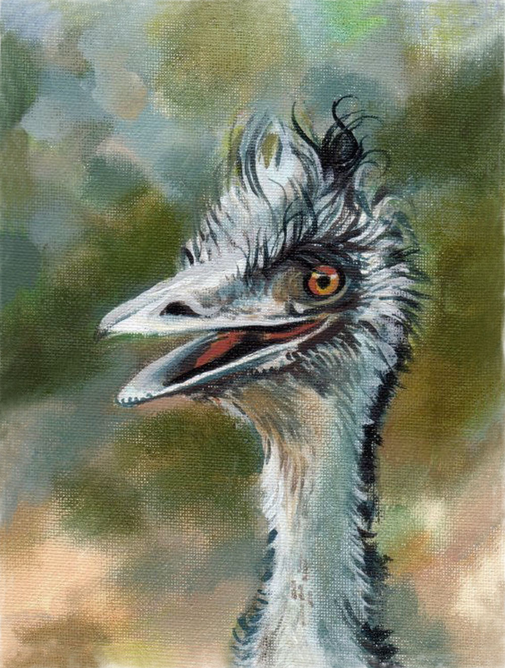 Emu, Kangaroo Island, Australia 6H x 4W inches acrylics on canvas board