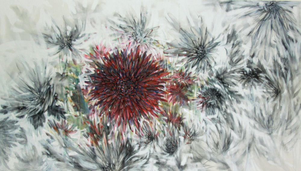 Chrysanthemums, 85L x 45W x 3D inches, graphite, charcoal and dry pastels and primer on 100% cotton, fixative