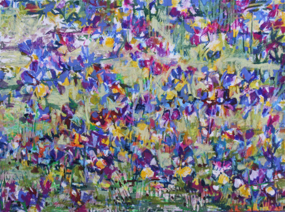 Violet Garden, 24H x 36W inches oil pastels on paper, white mat or framed