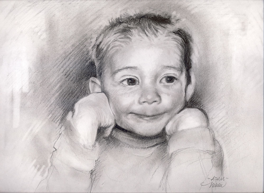 Adam, 11 x 14 inches graphite on paper