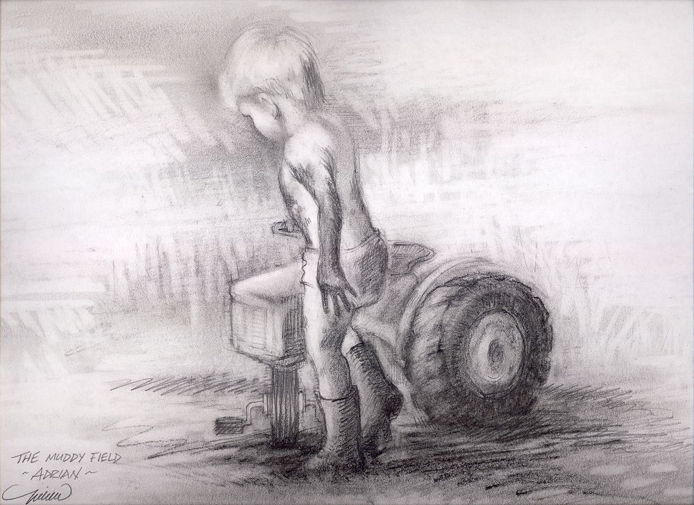 Adrian, The Muddy Field, 11 x 14 inches graphite on paper