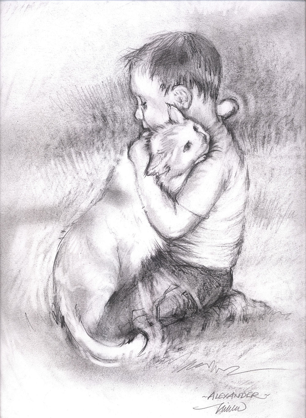 Alexander's Cat, 11 x 14 inches graphite on paper
