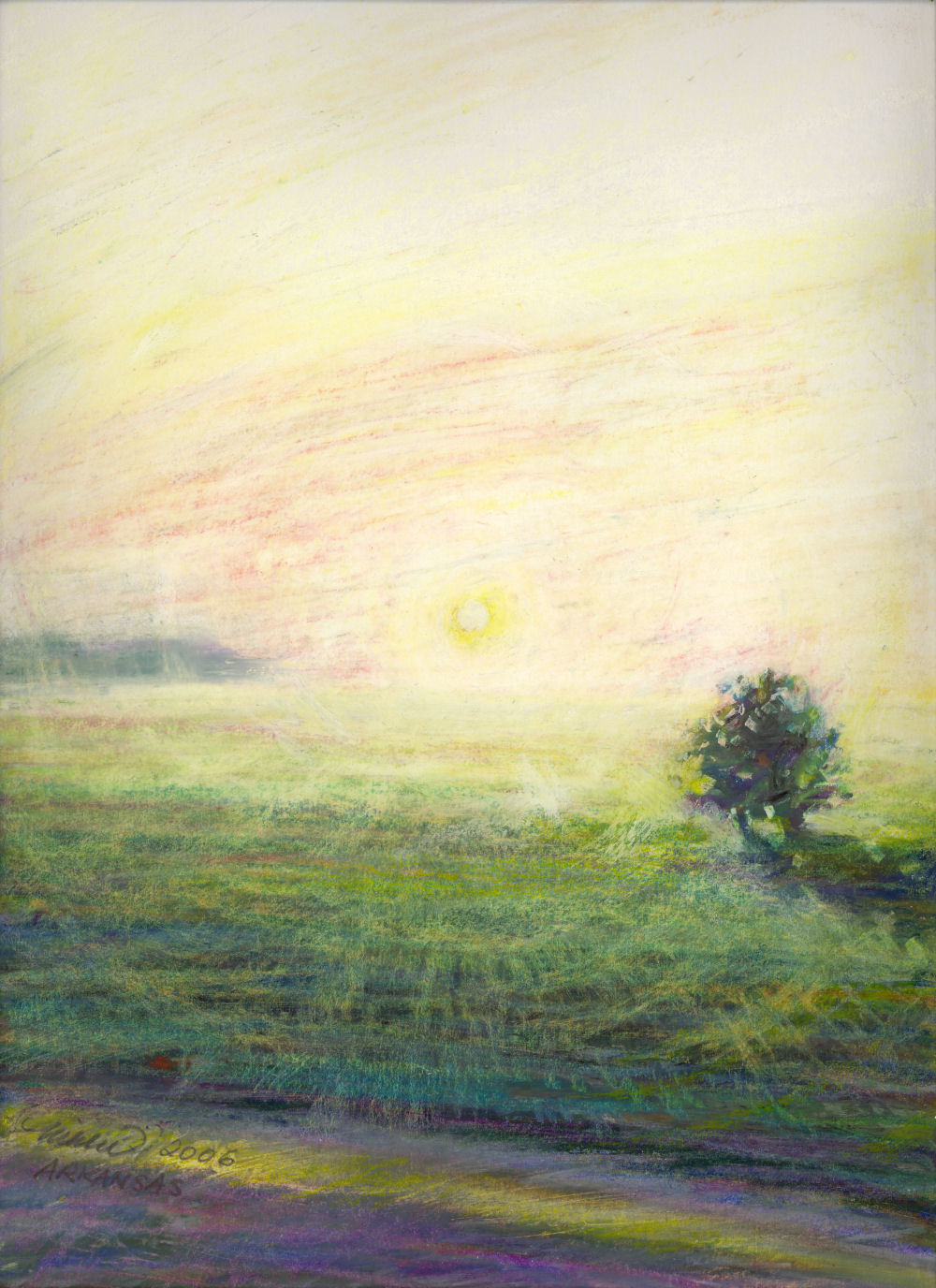 Arkansas, July 6:25 a.m. 14 x 11 oil pastels on paper