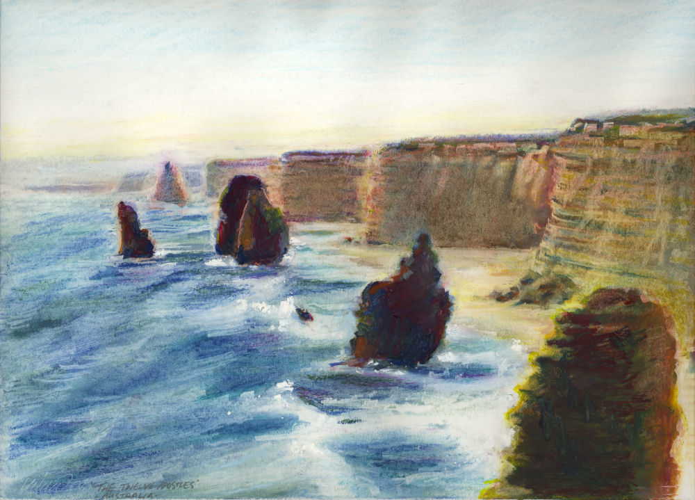 The Twelve Apostles, Southeast coast Australia, 14 x 11 inches oil pastels on pape