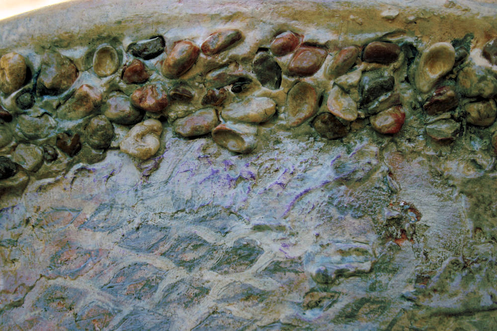Fossilized Myalina shells and stones, back details of Fossil Chair