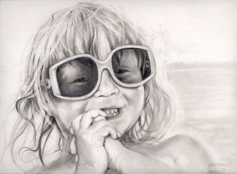 Brittany at the Beach, 11 x 14 inches graphite on paper