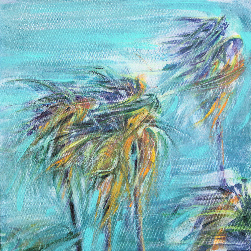 Chapala Wind, Mexico 11H x 11W x 3D inches acrylics on canvas, wrapped sides painted - sold.